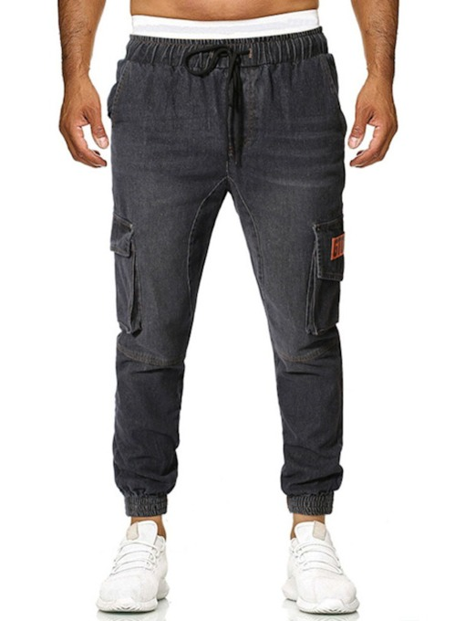 Casual Cotton Denim Fabric Letter Micro-Elastic Lace-Up Thin Loose Men's Jeans