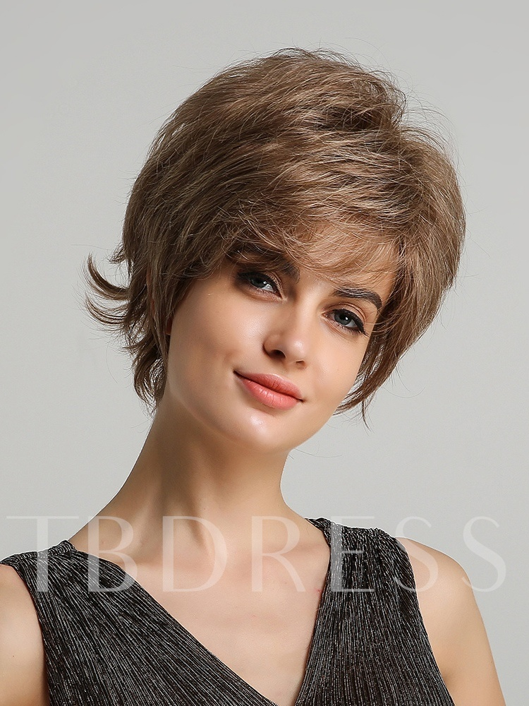 Natural Straight Women's Affordable Human Hair Blend Wigs Elastic Capless Wigs 8Inches