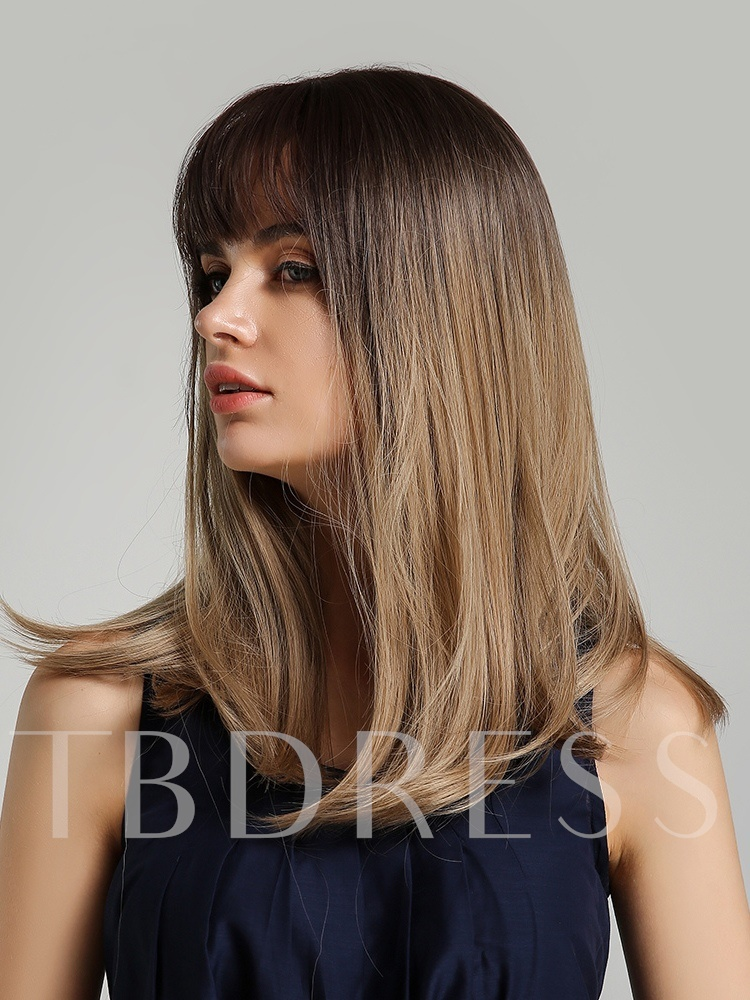 High Density Women's Natural Straight Synthetic Hair Wigs Rose Net Capless Wigs 20Inches