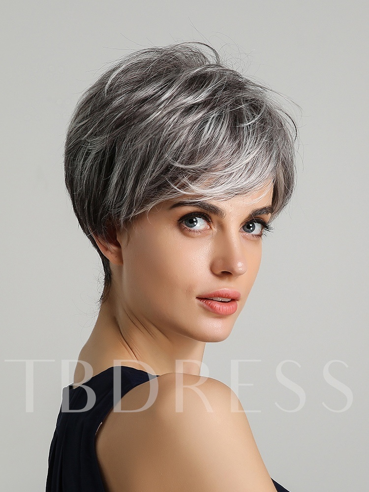 130% Density Women's Ombre Sliver Straight Human Hair Blend Wigs Rose Capless Wigs 8Inches