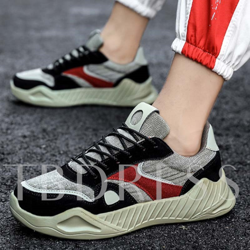 Color Block Lace-Up Round Toe Men's Sneakers