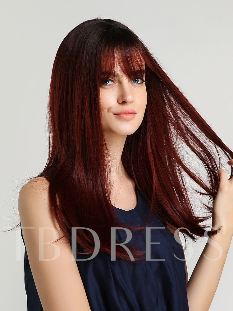 Easy Wear Women's Red Wine Straight Synthetic Hair Rose Capless Wigs 20Inches