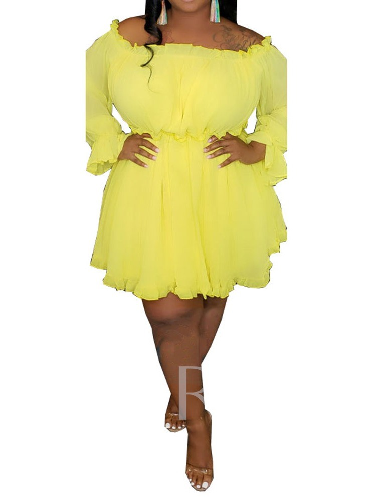 Pleated Off Shoulder Long Sleeve A-Line Women's Day Dress