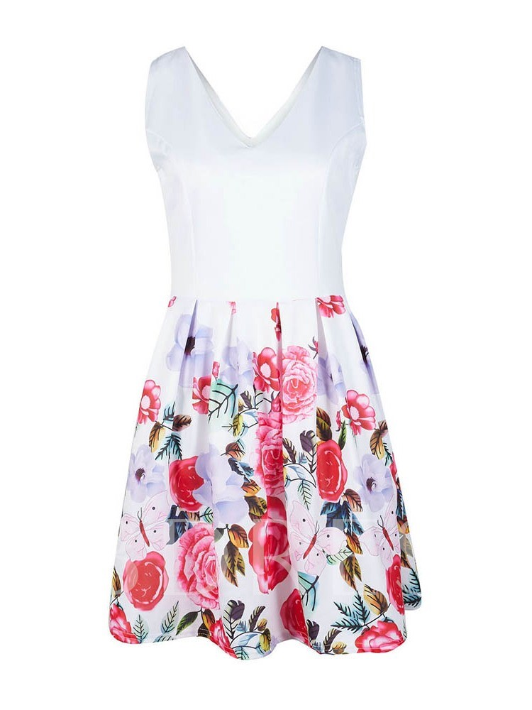 Print Sleeveless V-Neck A-Line Floral Women's Day Dress