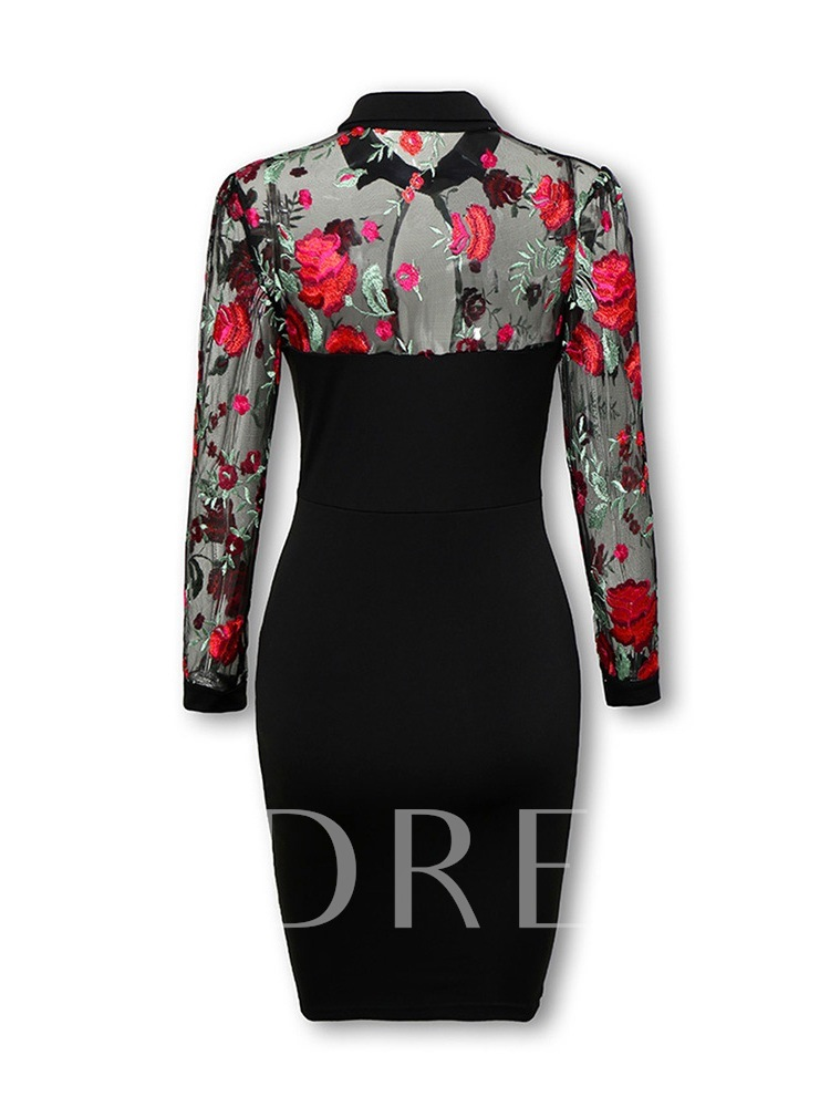 Embroidery Stand Collar Long Sleeve Women's Sheath Dress