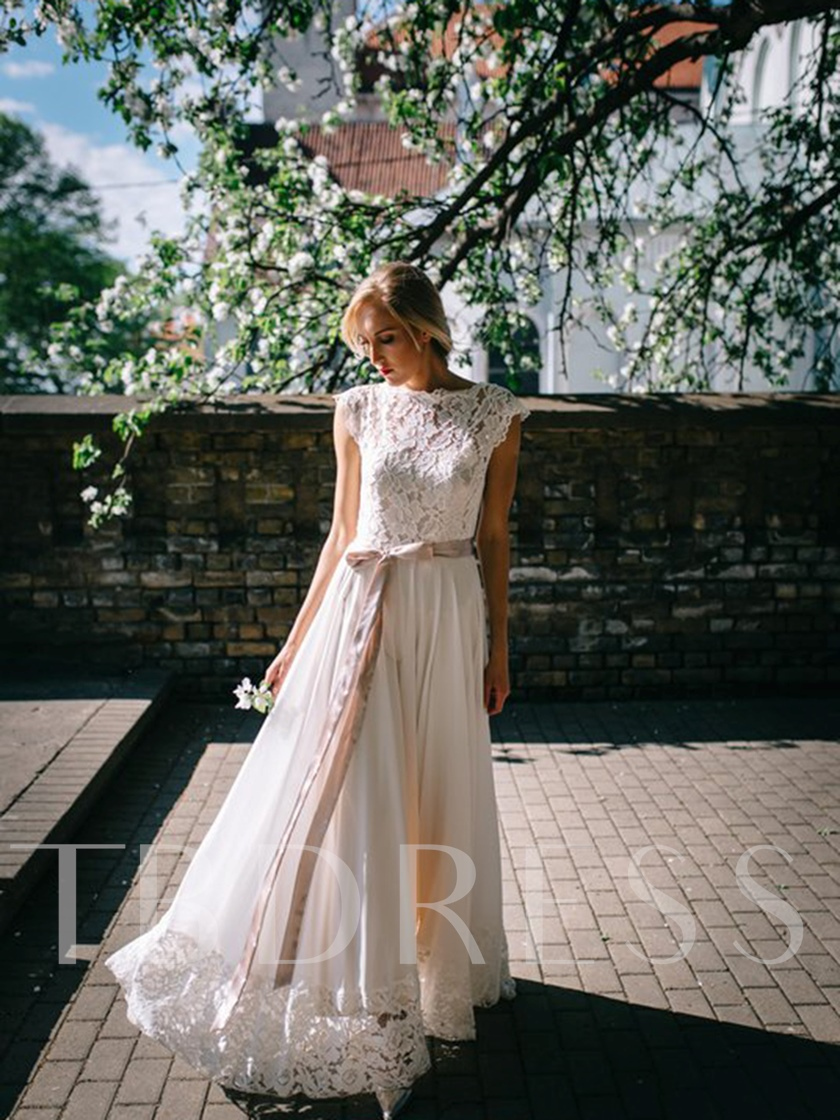 Sashes Button Lace Beach Wedding Dress 2019
