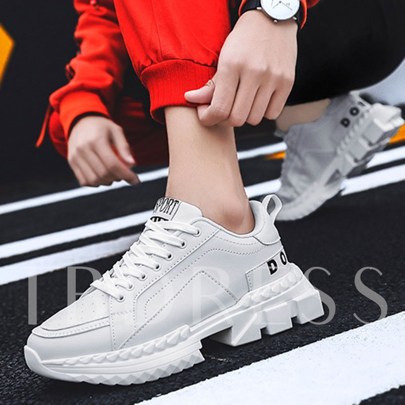 Metallic Lace-Up Round Toe Men's Sneakers