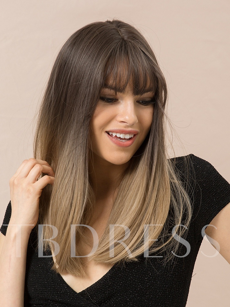 130% Density Natural Straight Wome's Synthetic Hair Ear Taps Capless Wigs 20Inches