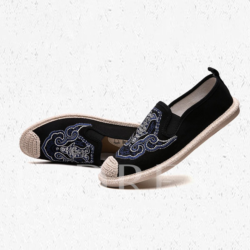 Slip-On Round Toe Embroidery Men's Flats