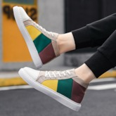 Color Block Lace-Up Flat With Round Toe Men's Skate Shoes