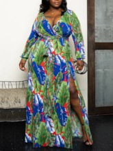 Plus Size Split Floor-Length V-Neck Long Sleeve Plant Women's Dress