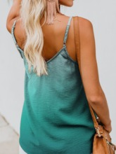 Summer Polyester Spaghetti Straps Button Standard Women's Tank Top