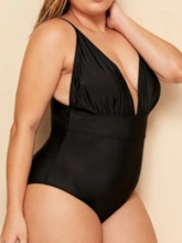 Plus Size Sexy Plain One Piece Pleated Women's Swimwear