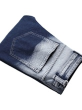 Color Block Hole Slim-Fit Stretch-Strap Jeans Mid Waist Men's Jeans