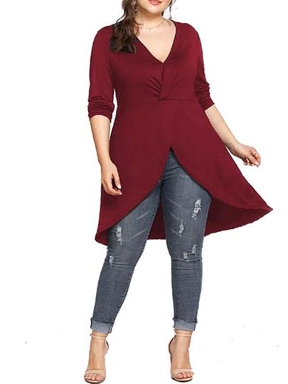 Plain Long Sleeve Plus Size V-Neck Fall Womens T-Shirt Plain Long Sleeve Plus Size V-Neck Fall Women's T-Shirt