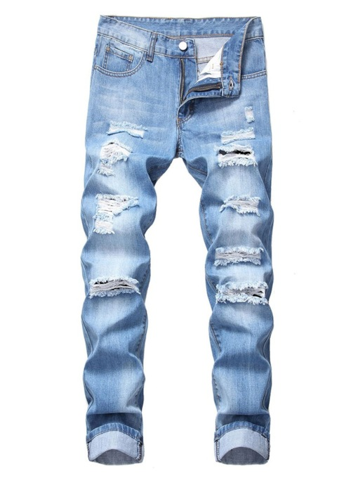 Worn Shredded Straight Slim Slimming Jeans Mid Waist Men's Jeans