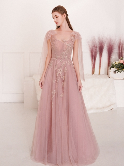 Floor-Length A-Line Sleeveless Appliques Prom Dress 2019
