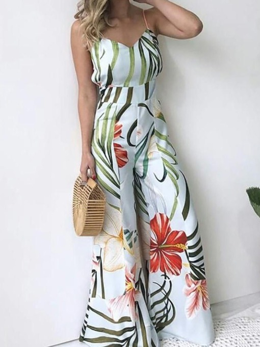 Strap Full Length Casual Floral High Waist Women's Jumpsuit