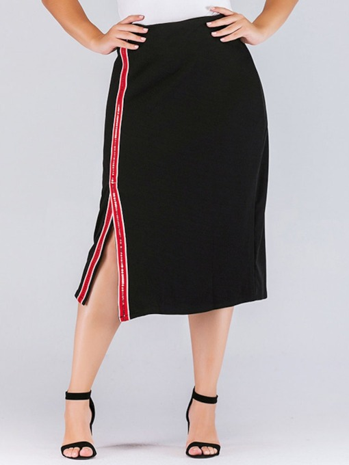 Mid-Calf Stripe Bodycon Print High Waist Women's Skirt