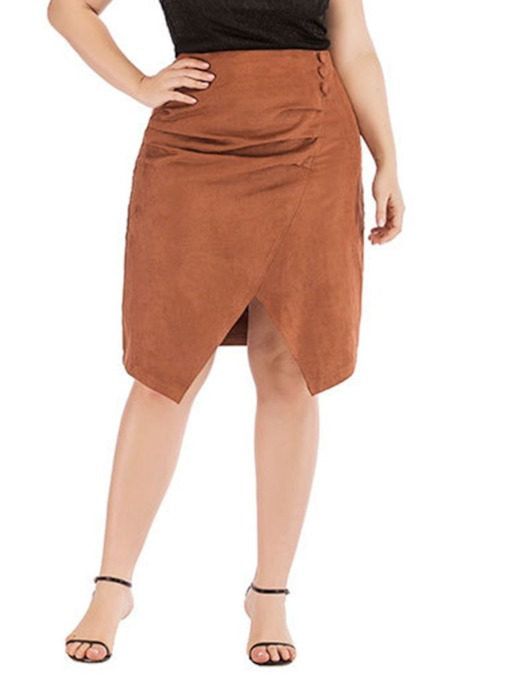 Plain Patchwork Knee-Length A-Line High Waist Women's Skirt