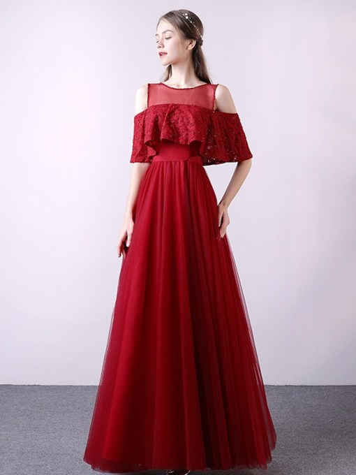 A-Line Beading Floor-Length Half Sleeves Prom Dress 2019