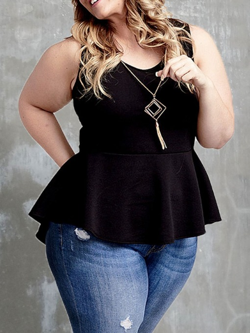 Plus Size Polyester I-Shaped Standard Women's Tank Top