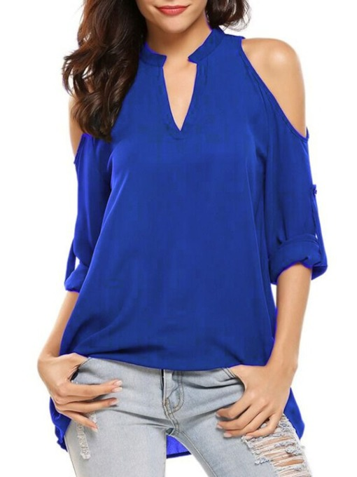 V-Neck Plain Pleated Mid-Length Women's T-Shirt