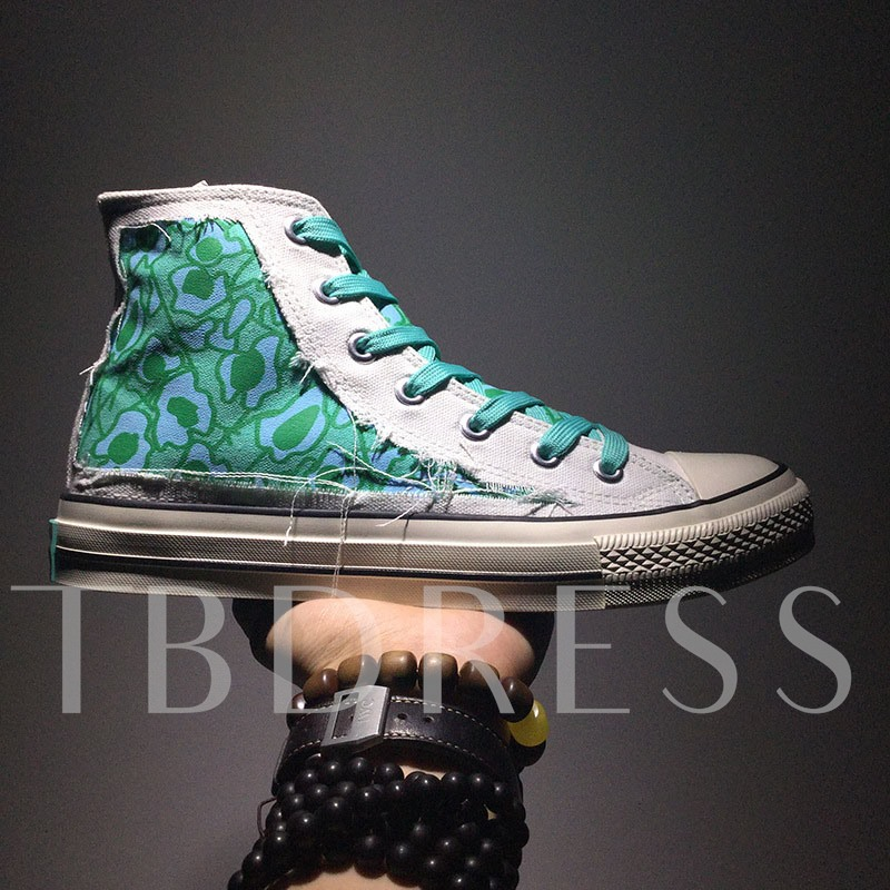 High Top Lace-Up Letter Round Toe Canvas Men's Skate Shoes