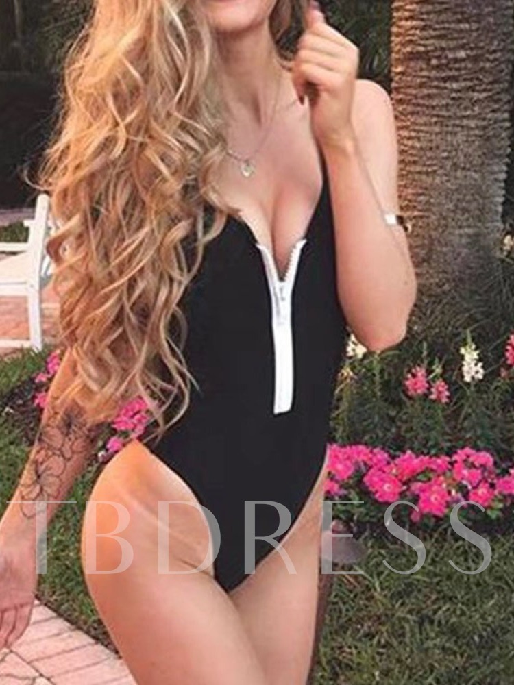 Sexy One-Piece Color Block Patchwork Women's Swimwear