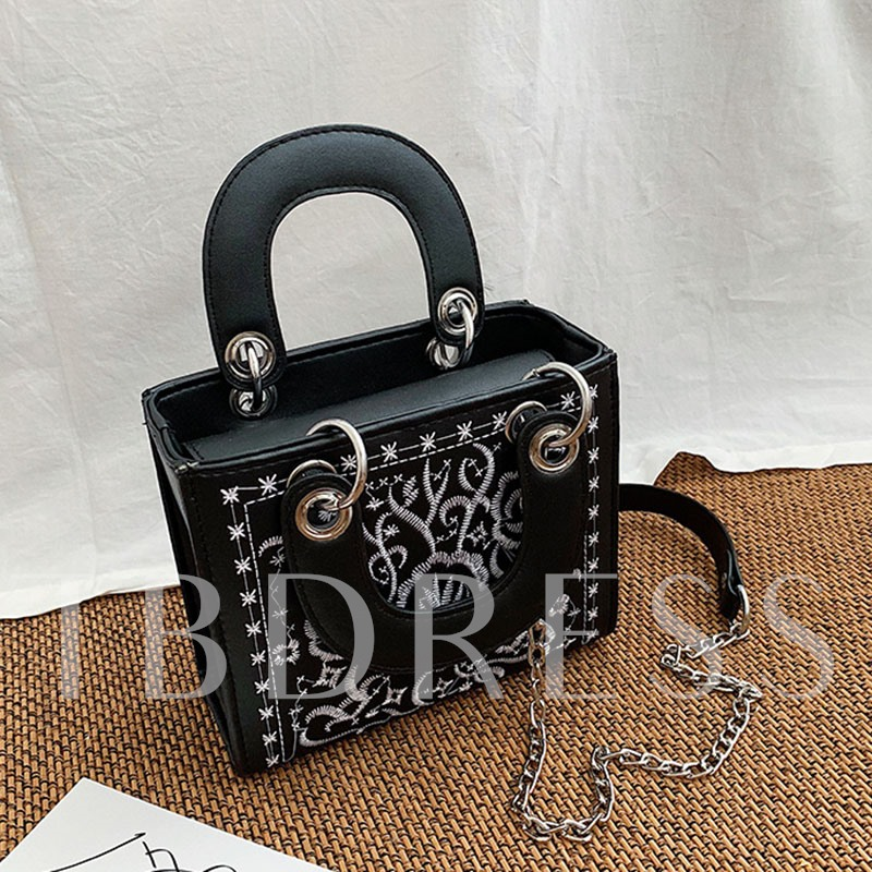 PU Embroidery Floral Tote Bags