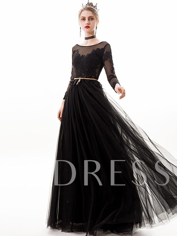 Appliques Long Sleeves Scoop Floor-Length Evening Dress 2019
