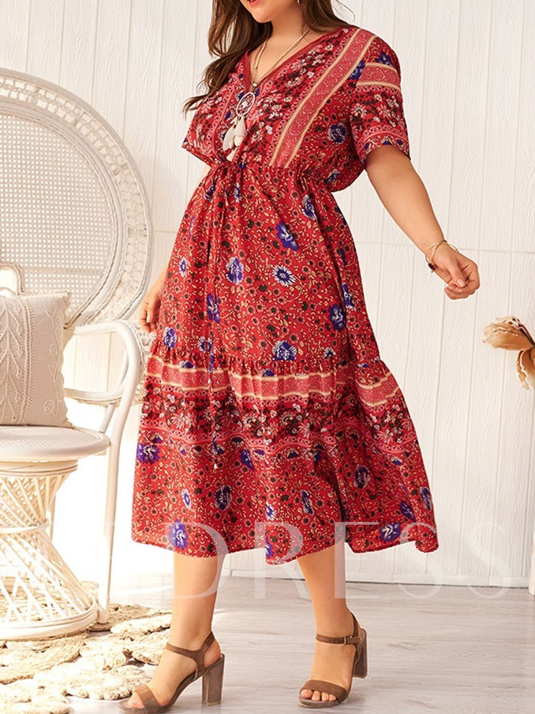 Plus Size Mid-Calf Short Sleeve V-Neck Lace-Up A-Line Women's Dress