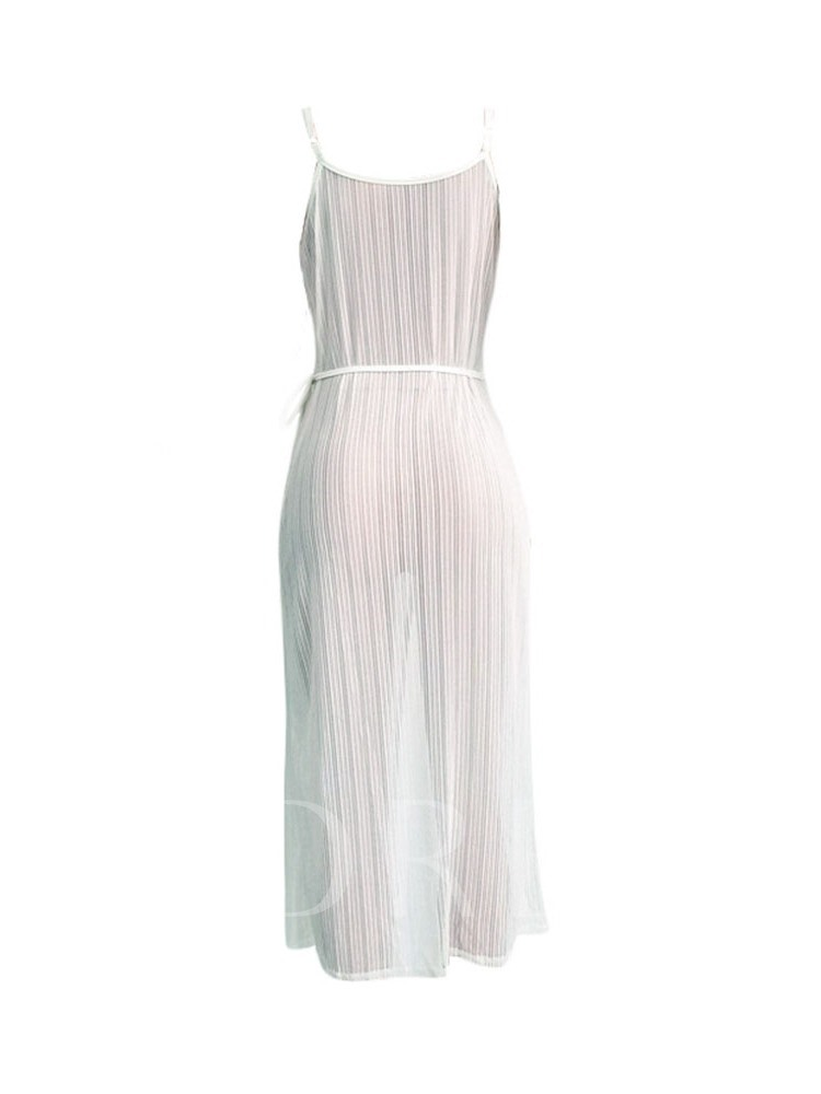 Sleeveless See-Through V-Neck Lace-Up Women's Sexy Dress