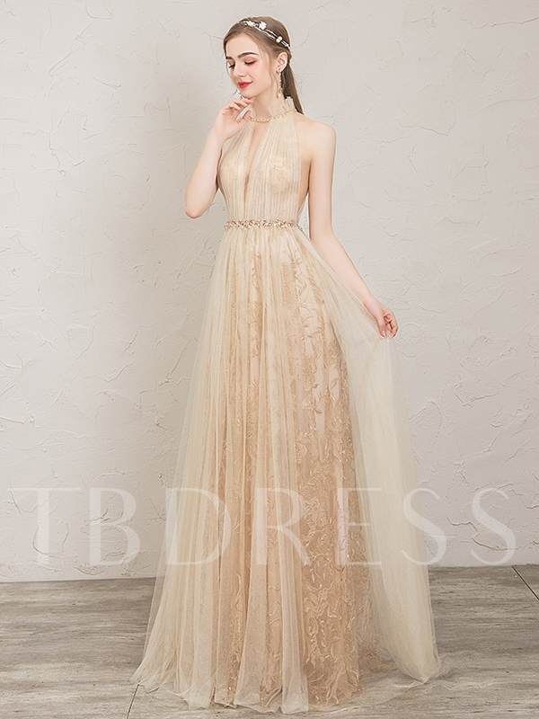 Pick-Ups High Neck A-Line Floor-Length Prom Dress 2019