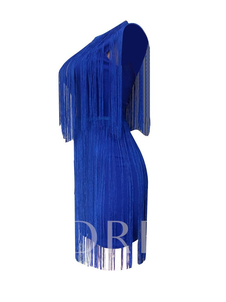 Tassel Round Neck Above Knee Three-Quarter Sleeve Women's Day Dress
