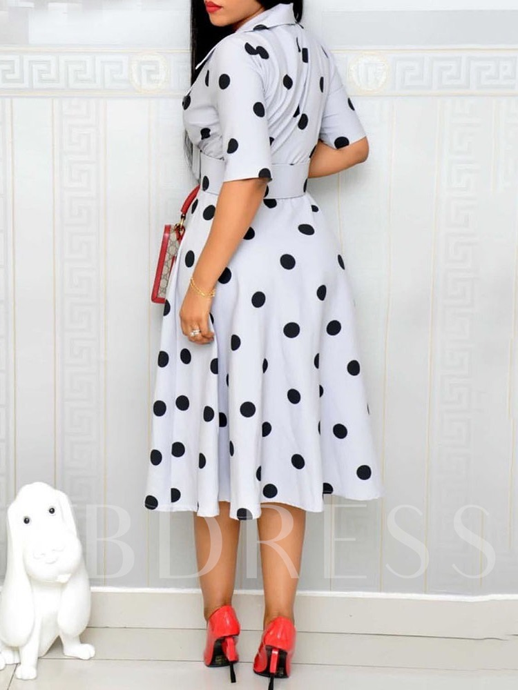 Print Notched Lapel Half Sleeve Summer Women's Maxi Dress