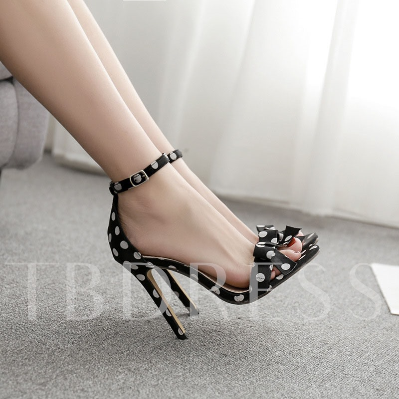 Polka Dot Stiletto Heel Open Toe Heel Covering Women's Sandals