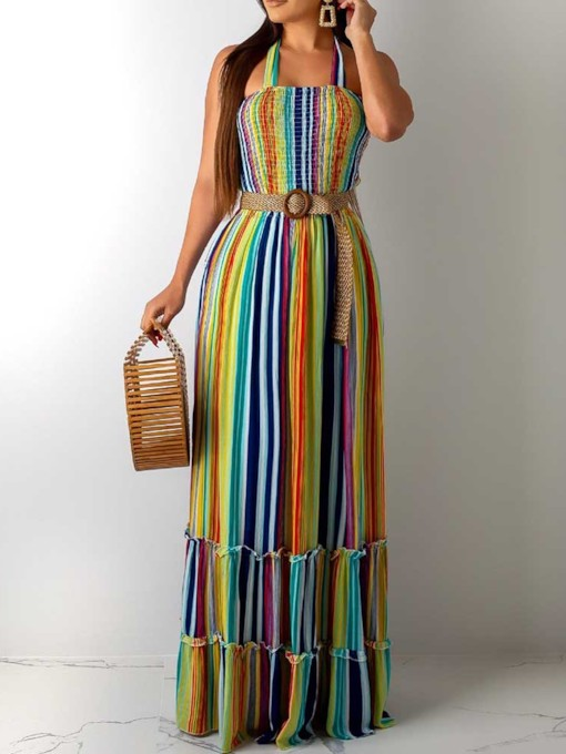 Floor-Length Sleeveless Pleated Pullover Women's Maxi Dress