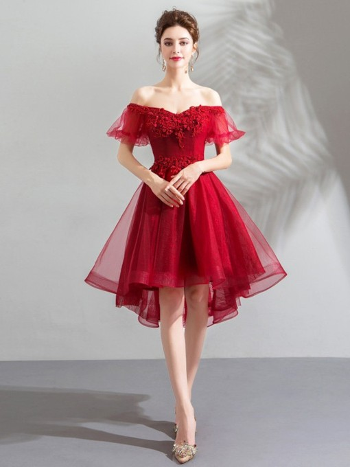 Off-The-Shoulder Beading Asymmetry Short Sleeves Homecoming Dress 2019