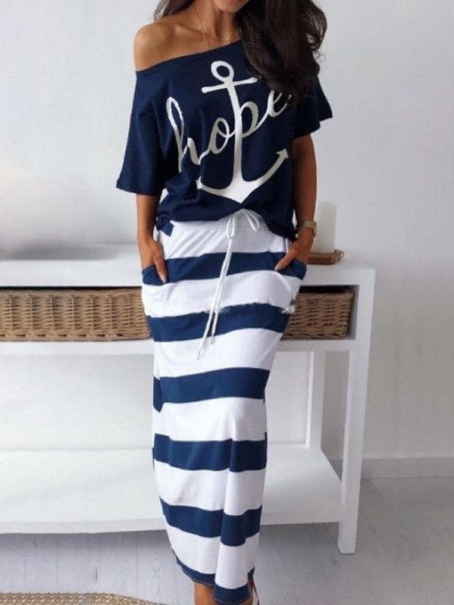 Date Night Skirt Letter Print Pullover Women's Two Piece Sets