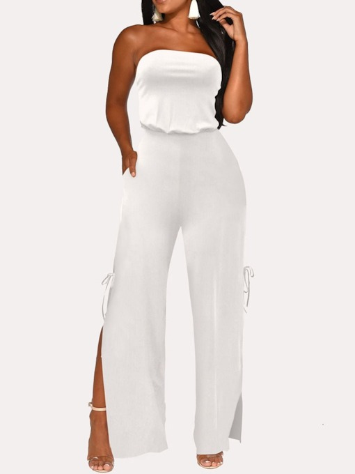Plain Casual Full Length Split High Waist Women's Jumpsuit