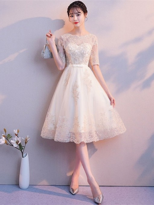 Half Sleeves A-Line Appliques Scoop Homecoming Dress 2019