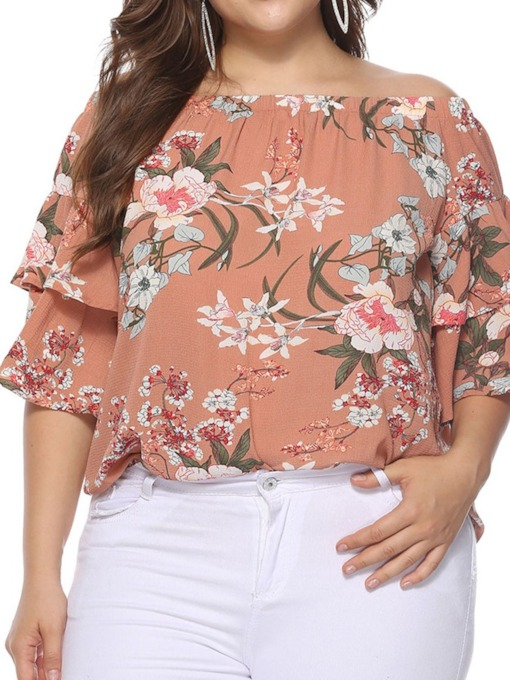 Plus Size Floral Print Off Shoulder Half Sleeve Women's Blouse
