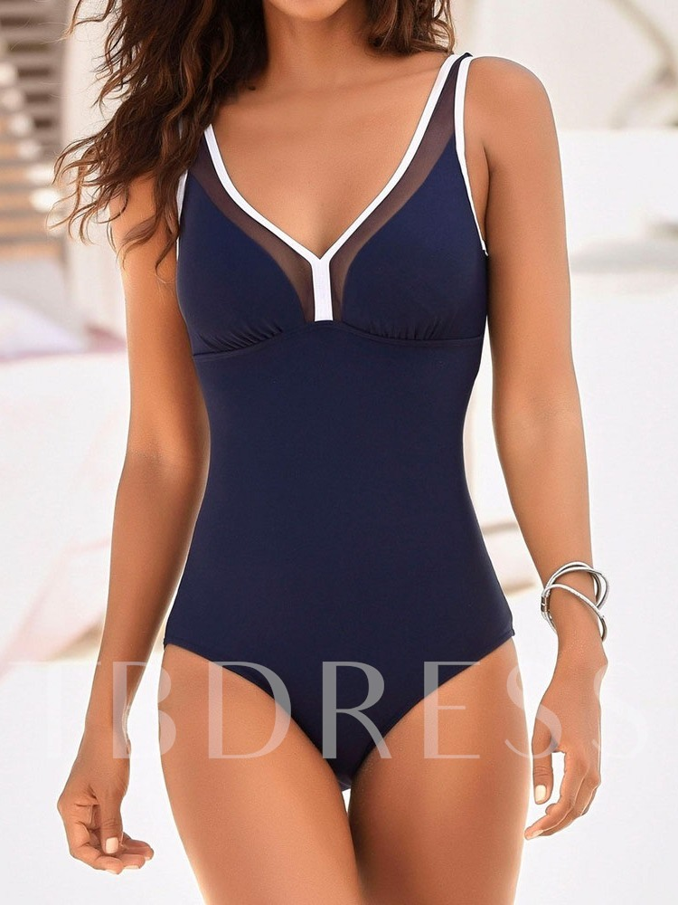 One-Piece Patchwork Color Block Sexy Women's Swimwear