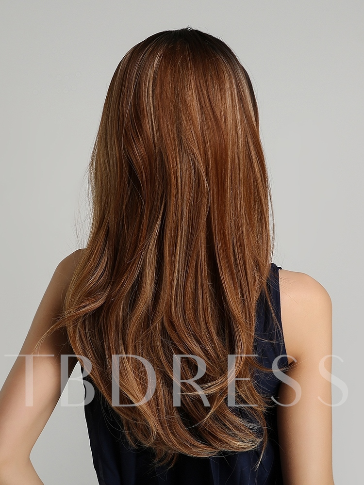 130% Density Natural Looking Women's Straight Synthetic Hair Capless Wigs 24Inches
