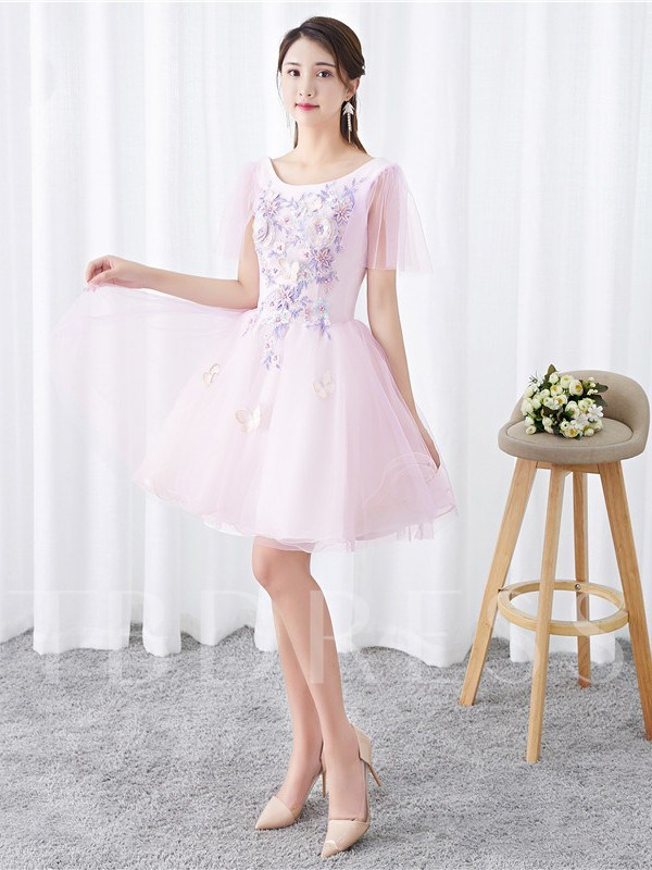 Short Sleeves A-Line Appliques Scoop Homecoming Dress 2019