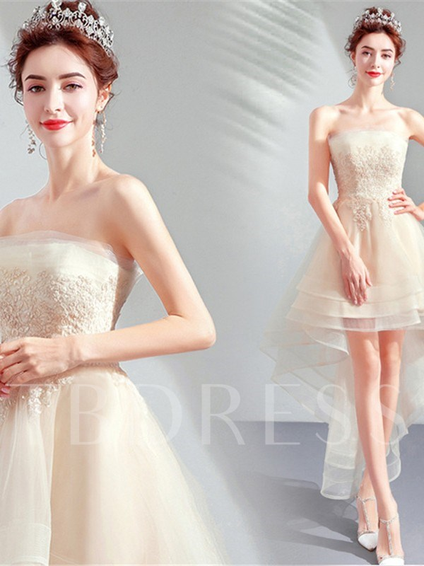 Appliques Strapless A-Line Sleeveless Homecoming Dress 2019