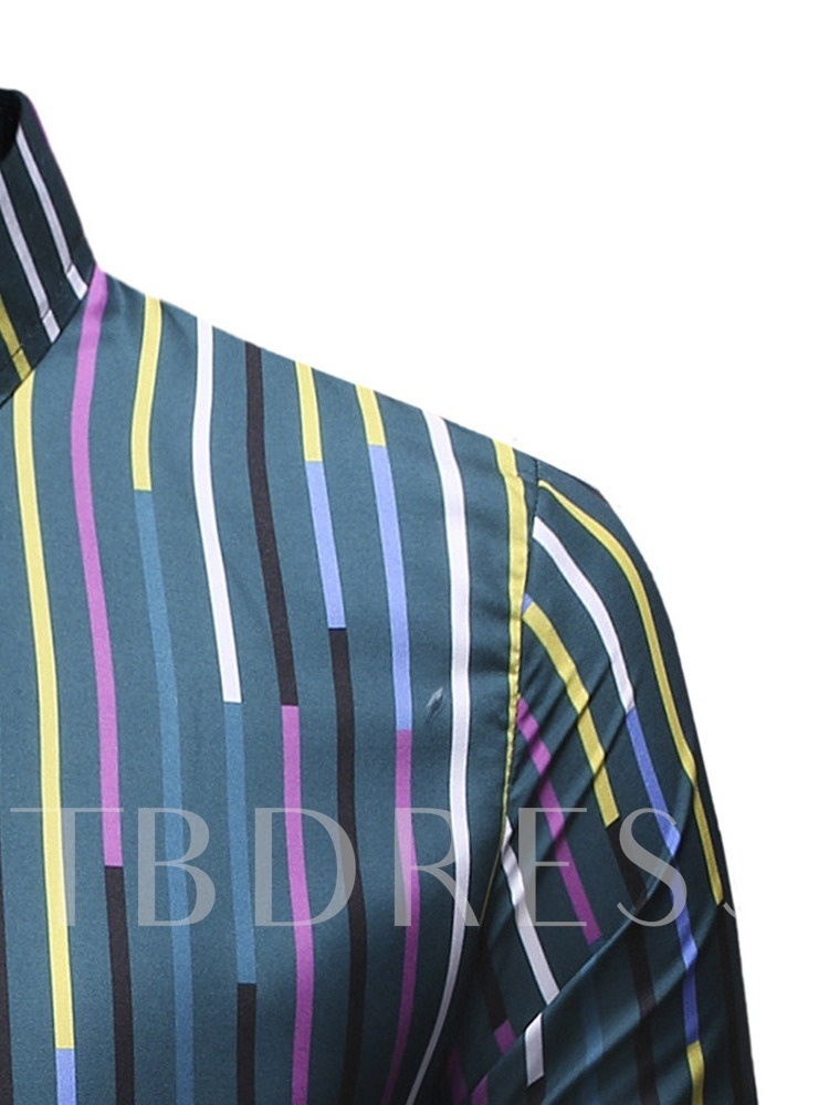 Single-Breasted Stripe Color Block Fashion Lapel Summer Long Sleeves Men's Shirt