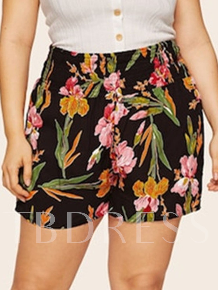 Floral Print Straight Loose Women's Shorts