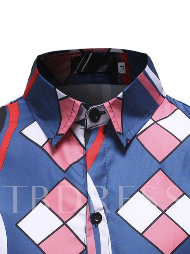 Geometric Patterns Print Casual Lapel Color Block Long Sleeves Slim Men's Shirt